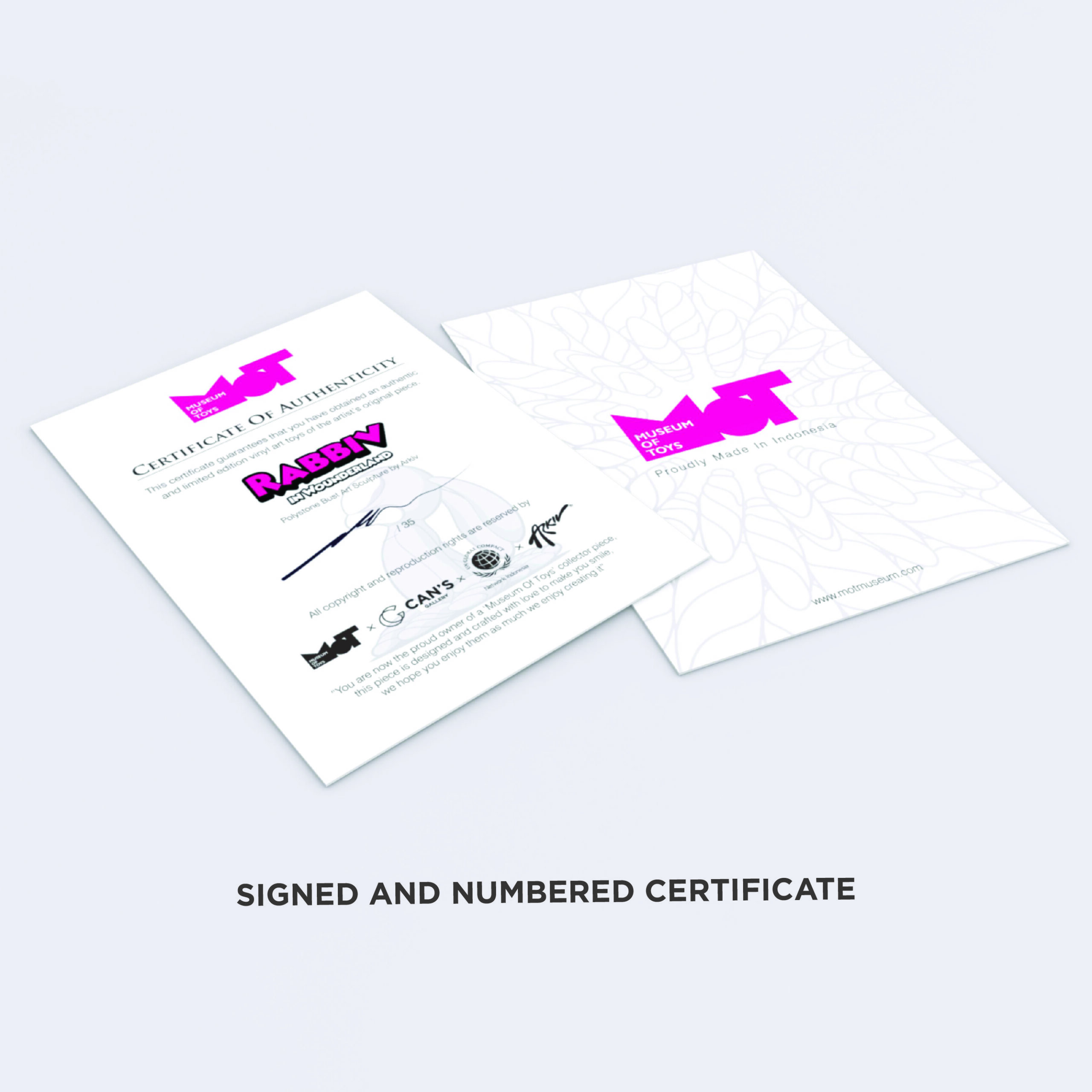 Rabbiv in Wounderland Limited Edition Certificate